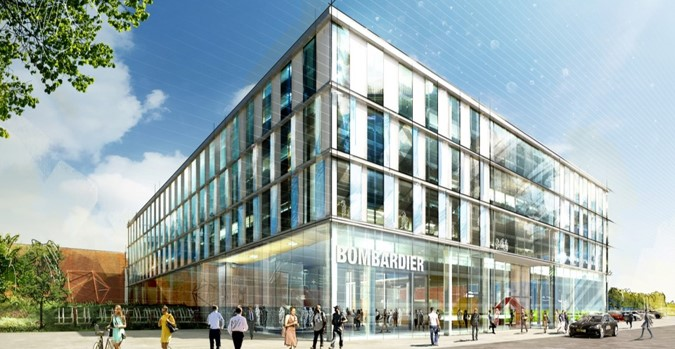 The picture of the office building is an early conceptual rendering.